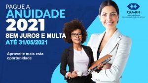 CRA-RN suspende juros e multa de anuidade 2021